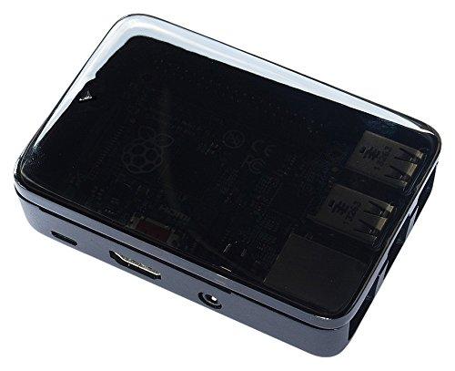 Short Crust Plus erweiterbar Fall für Raspberry Pi mit Cover und Erweiterung–Schwarz/Smoke (Fall Erweiterbar)