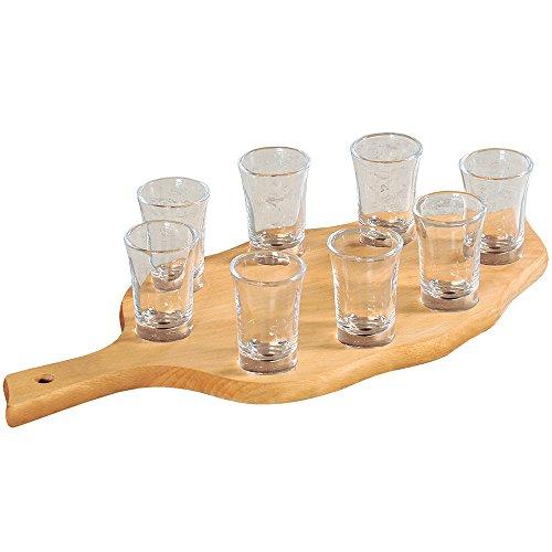 Kesper 68279 Schnapsglasträger mit 8 Gläsern aus FSC Buche
