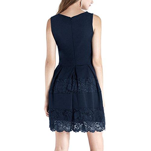 Dressystar Damen Kurze Kleider Vintage Brautjungfernkleid mit Spitzen Ärmellos Knielang Marineblau