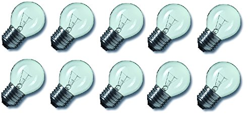 15w Kugel (10 x Glühlampe Glühbirne Tropfen Kugel E27 15W 15 Watt klar 230V Leuchtmittel)