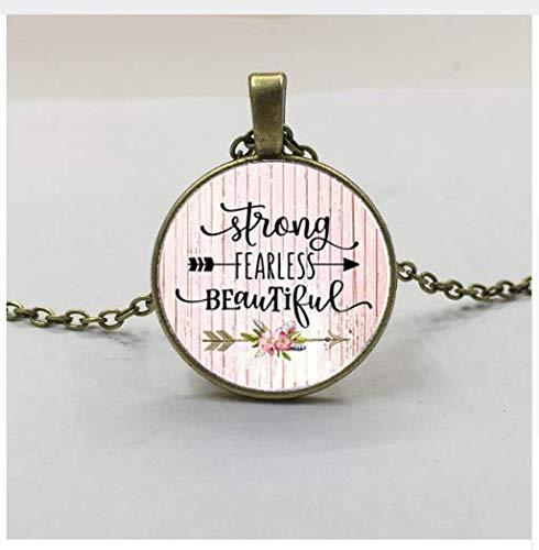 tiful Charm Anhänger, Geschenk für Mutter, starke Frau, furchtloser Charm, Survivor, Zitat Charm Halskette ()
