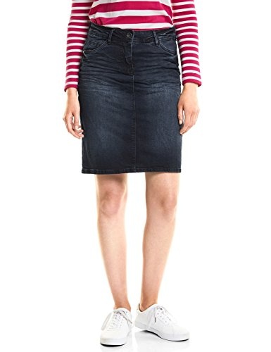 Cecil Damen 360274 Rock, Blau (Blue/Black Used wash 10770), 34 - Damen Crinkle-röcke-a-linie Rock