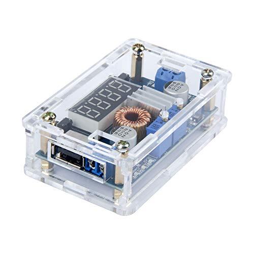 Teohk DC-DC Abwärtswandler Abwärtsspannung Konstantstromwandlermodul Spannungsregler Leistungswandler Einstellbare Leistungsreglerplatine mit LED Voltmeter und USB Ausgang