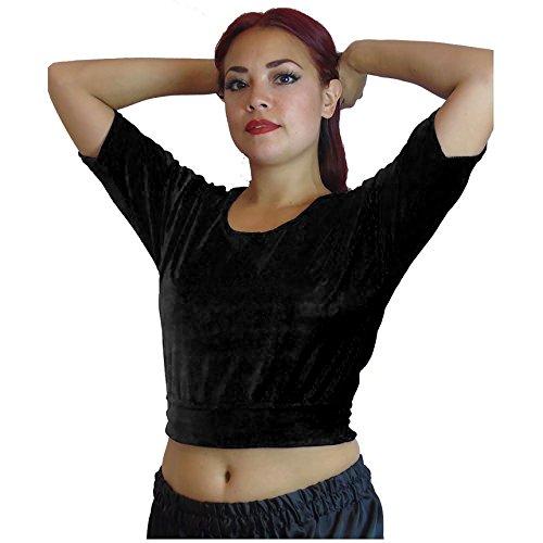 Tänzer Welt Elegant Ärmel Tribal Bauchtanz Choli Kostüm Top UK 12/14 - 24 - M L XL bis 4XL (UK 16 - 18, Schwarz) (Baumwolle Choli)