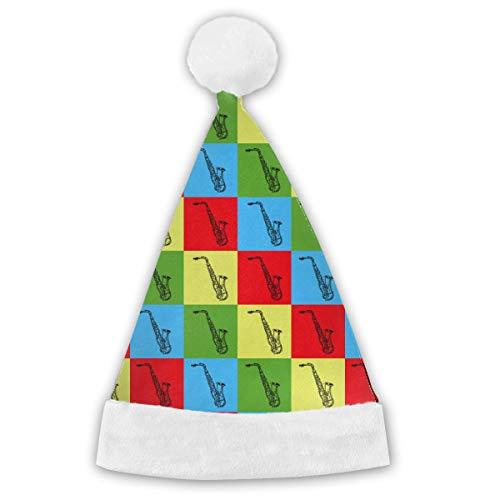 Urlaub Kostüm Weihnachten Themen - VTYOSQ Pop Art Saxophon Erwachsene & Kinder Weihnachten Weihnachtsmann Mütze Party Supplies Urlaub Thema Hüte Kostüm Weihnachtsdekoration