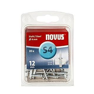 Novus Stahl-Blindnieten 12 mm, 20 Nieten mit Ø 4 mm, 6.5 - 8.5 mm Klemmlänge, zur Befestigung von Stahlblechen