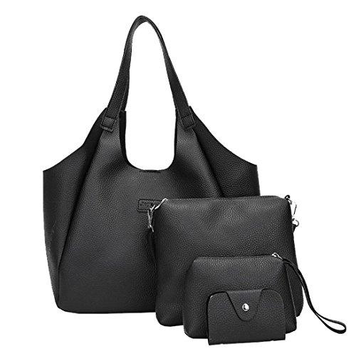 Kangrunmy donne quattro set borsetta borse a spalla quattro pezzi tote bag crossbody portafoglio borse a tracolla donna borse mandarina duck tracolla (nero)