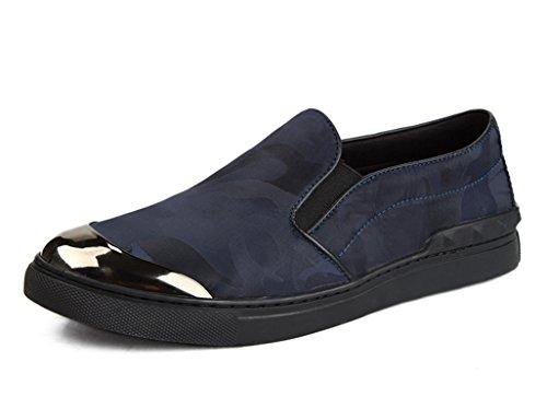 Chaussures En Cuir Pour Hommes Chaussures De Sport Pour Hommes Chaussures En Toile De Camouflage Respirant (couleur: Vin Rouge, Taille: Eu40 / Uk6.5) Bleu