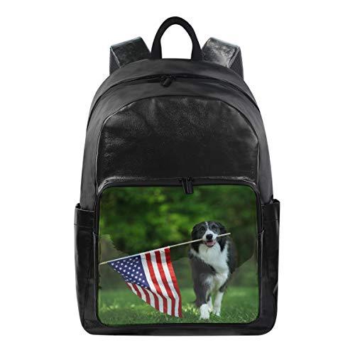 Lustiger Rucksack USA American Flag Hund Katze Umhängetasche Wandern Camping Daypack Schule Reise Computer Tasche für Kinder Jungen Mädchen Männer Frauen