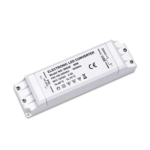 Yafido Transformateur 220v 12V Adapteur Convertisseur LED Transfo 30W Alimentation 2.5A DC Ampoule MR16 GU5.3 MR11 G4 Bande LED Lumiere