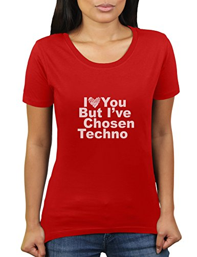 Likoli I Love You But I've Chosen Techno - Damen T-Shirt von KaterLikoli, Gr. S, Red (Herz Seele Red-t-shirt)