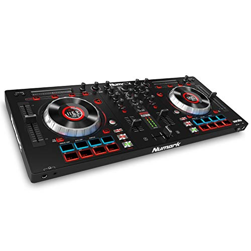 Numark Mixtrack Platinum All-In-One 4-Deck DJ Controller mit LCD Displays, 5 Zoll Touch  Jog Wheels, Multifunktions - Touch Strip und 24-bit Audio Interface, Serato DJ Lite, Prime Loops Remix Kit