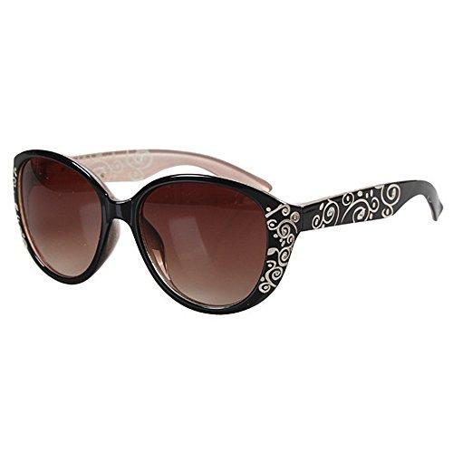 Mode Brillen Damen Sonnenbrillen Retro Kristall Stil für Frauen Blumendruck Unzerbrechlicher Rahmen PC-Objektiv UV-Schutz schwarz umrandeten Sonnenbrillen klassische Dame für das Fahren von Reisen Occ