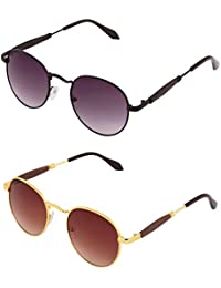 Round Combo Sunglasses For Men Women Boys Girls Non Polarized Goggles-Black And Brown Lens