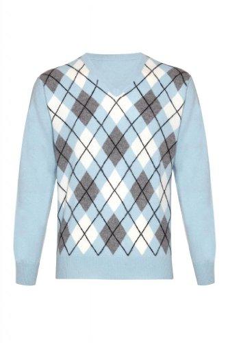 Mens Pure Cashmere Argyle-Maglione con collo a V blu XL