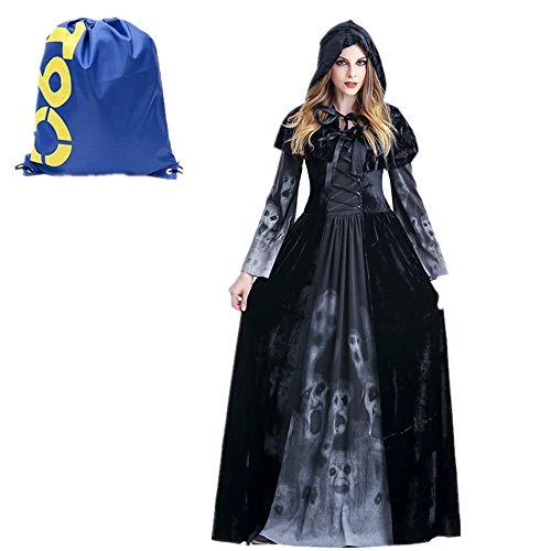Costume da strega nero d'epoca gioco di ruolo halloween per donna, medioevo strega e vampiro abiti con cappello da festa vintage festa,gotico zombie vestiti per travestimento (strega nero, l)