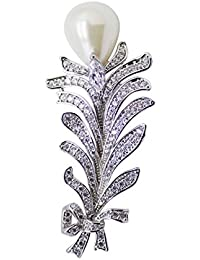 Dainika Aabharanam | Beautifully Crafted Micro-Pavé Cubic Zircon & Resin Pearl Bouquet Design Silver Colour Brooch...