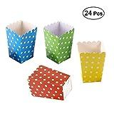Toyvian Scatole di popcorn,24pcs Contenitori di Popcorn e Caramelle per Spuntini del Partito, Dolci, Popcorn e Regali (verde / giallo / rosso / blu scuro)