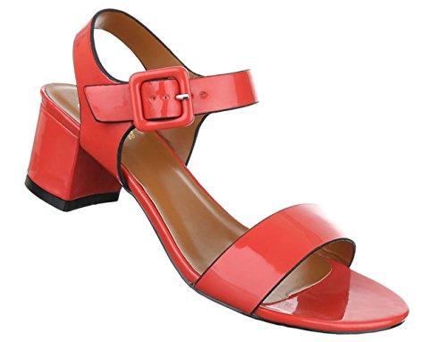 Damen Sandalen Schuhe Sommerschuhe Strandschuhe Pumps Schwarz Weiß Rot Beige Dunkelblau 36 37 38 39 40 41 Rot