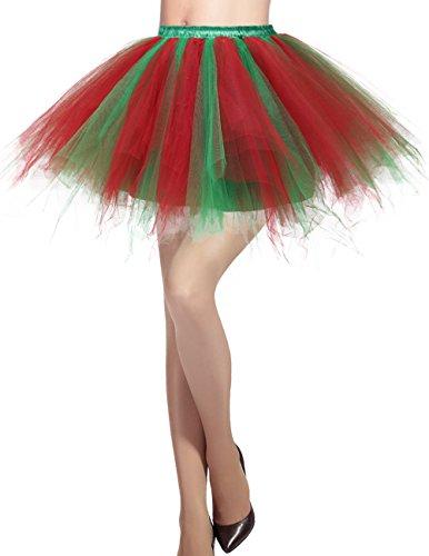 Dresstells Damen Tüllrock 50er Rockabilly Petticoat Tutu Unterrock Kurz Ballett Tanzkleid Ballkleid Abendkleid Gelegenheit Zubehör Green Red ()