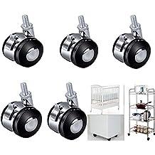 5pcs Ruedas Giratorias, resistente giratorio de goma ruedas muebles pesados carrito Ruedas, Ruedas de