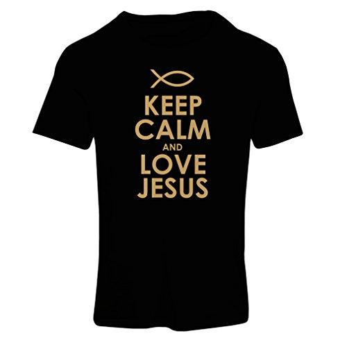 Frauen T-Shirt Liebe Jesus Christus, christliche Religion - Ostern, Auferstehung, Geburt Christi, religiöse Geschenkideen (Large Schwarz Gold)