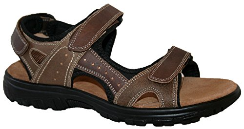 mens leather upper touch close straps sandal, with cross strap front and padded insole (UK8, tan)