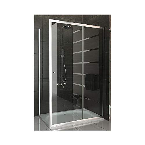 Duschabtrennung/Duschkabine mit Schiebetür 120x100 cm aus Einscheibensicherheitsglas (ESG