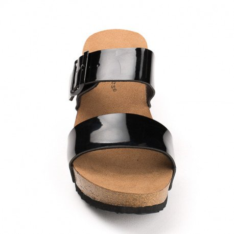 Ideal Shoes - Nu-pieds compensés et vernis Tela Noir