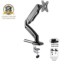 """ACGU31S Gas Spring Desk Mount LCD Monitor Single Arm Stand (Soporte de Monitor con resorte de gas ) w/ vesa bracket & monitor arm for 15""""-27"""" Screens : Tilt up/down 135°, free swivel left/right 360°, 360° rotation and Built-in USB & Audio ports - in Black"""
