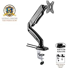 "ACGU31S Gas Spring Desk Mount LCD Monitor Single Arm Stand (Soporte de Monitor con resorte de gas ) w/ vesa bracket & monitor arm for 15""-27"" Screens : Tilt up/down 135°, free swivel left/right 360°, 360° rotation and Built-in USB & Audio ports - in Black"