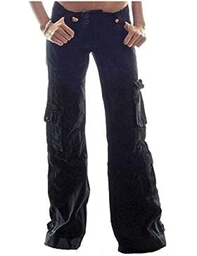 Yying Pantalones de Mujer Pantalón militar Hip Hop Jogger Color Sólido Pantalón Moda Cintura Alta Bolsillos Casual...