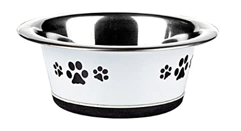 Classic Pet Products Classic Posh Paws Cat Dish, 240 ml, White