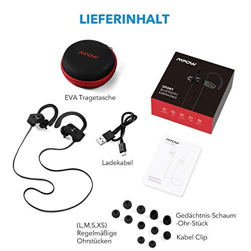 Mpow Flame Bluetooth Kopfhörer, IPX7 Wasserdicht Kopfhörer Sport, 7-10 Stunden Spielzeit/Bass+ Technologie, Sportkopfhörer Joggen/Laufen Bluetooth 4.1, In Ear Kopfhörer mit Mikrofon für iPhone Android - 7
