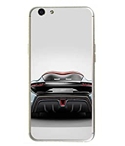 PrintVisa Designer Back Case Cover for Oppo F1s (grey black back view car)
