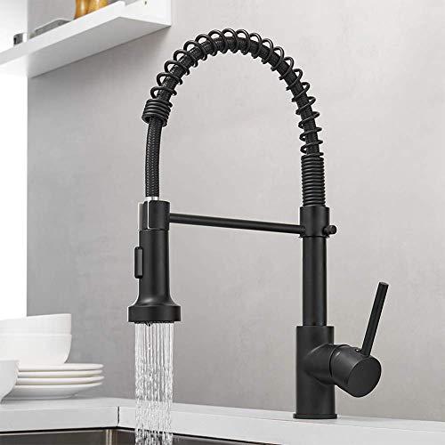 RUNTH Wasserhahn Küche Mischbatterien Küchenarmatur mit Brause Ausziehbar Spültischarmatur Spiralfederarmatur Küchenspüle für Armatur Küche Schwarz