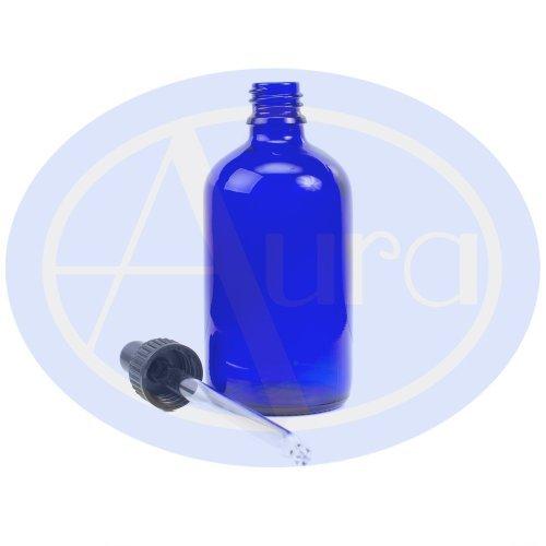 100ml BLAUGLAS-Flasche mit GLAS-Pipette. Ätherisches Öl / Verwendung in Aromatherapie -