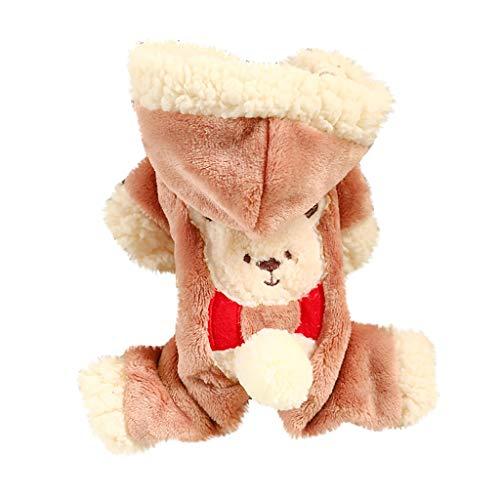 byeel Hundemantel Bär Verkleidung Cosplay Kostüme Pullover Plüsch Overall mit Kapuze für Hunde Hoodie Wintermantel für Klein Hund und Katze