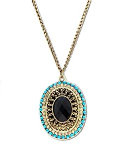 Lingstar(TM) Bohemia bronze princess elliptical crystal retro long chain Necklace Xmas