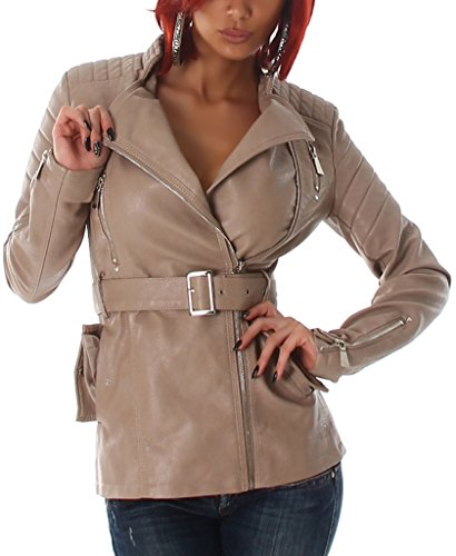 Damen Jacke Leder Optik Übergang Freizeit Kunstleder Größe Neu Winter Light Brown 36/38
