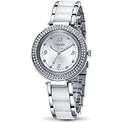 Time100 Women's Fashion Luxury Plated Alloy Cystal Cace Steel Imitation Ceramic Band Ladies Casual Dress Wrist Watches #W50841L.01A