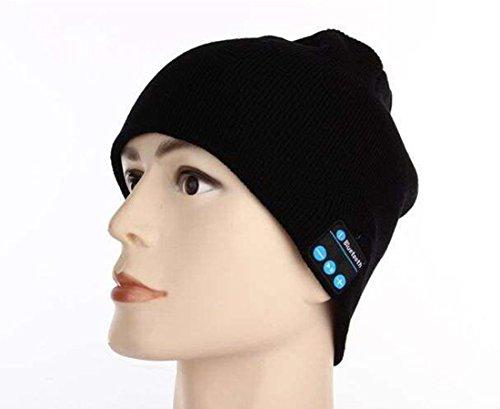 Huatuo® Auricolari Bluetooth Unisex Cappello-Cappello in maglia con altoparlante stereo Bluetooth Cuffie, Micro telefono, ricevere chiamate a mani libere e controllo della musica per tutti gli smartphone e dispositivi Smart, Black