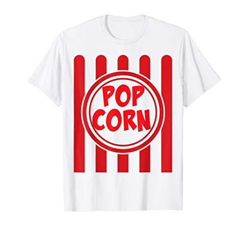Popcorn Karneval Kostüm Shirt Lustig Rot Weiß Gestreift T-Shirt