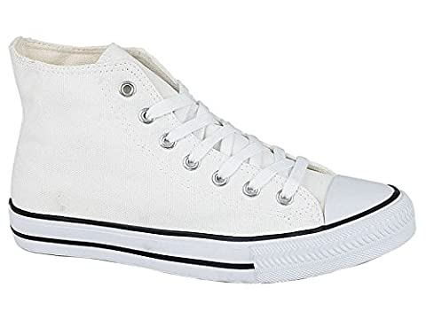 Mens Academy Low Top Hi Top Canvas Toe Cap Lace Up Pumps Plimsoll All Star Trainers Casual Shoes Size 6-12 (UK 8, White Hi