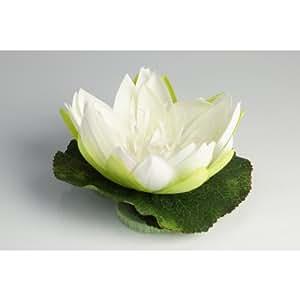 Fleur de lotus en tissu, flottante, blanc crème, 10 cm, Ø 20 cm - Nénuphar artificiel / Lotus artificiel - artplants
