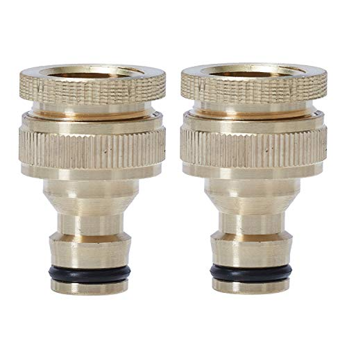 ANSIO Garden Hose Tap Connector 3/4 Inch & 1/2 Inch Outdoor Threaded Brass Tap Connector - Double Pack
