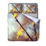 QIHANGYA Duvet cover set 3d Branch leaves print effect quilt bedding set Duvet cover set 3d Quilt cover set 3 PCS Bedding 200x200cm