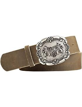 Trachten-Design Ledergürtel Landeswappen-Schliesse mit Druckknopfriemen Vollrindleder silber antik Farbe hellbraun