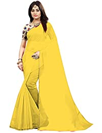 High Glitz Fashion Women's Chanderi Cotton Saree with Blouse Piece (Yellow, Free Size)