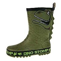Lora Dora Boys 3D Dinosaur Rubber Wellington Boots Green